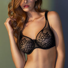 Load image into Gallery viewer, Empreinte Melody Lace Seamless Full Cup Padded Strap Underwire Bra (Black + Rose)
