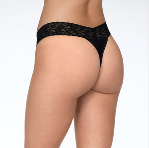 Hanky Panky Supima Cotton Original Rise Thong With Lace