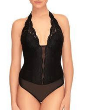 Load image into Gallery viewer, B Tempt'd Black Mesh Thong Halter Bodysuit