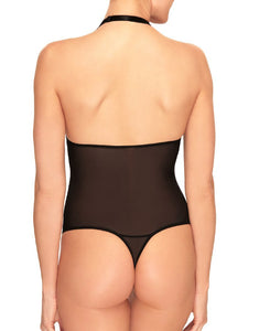 B Tempt'd Black Mesh Thong Halter Bodysuit