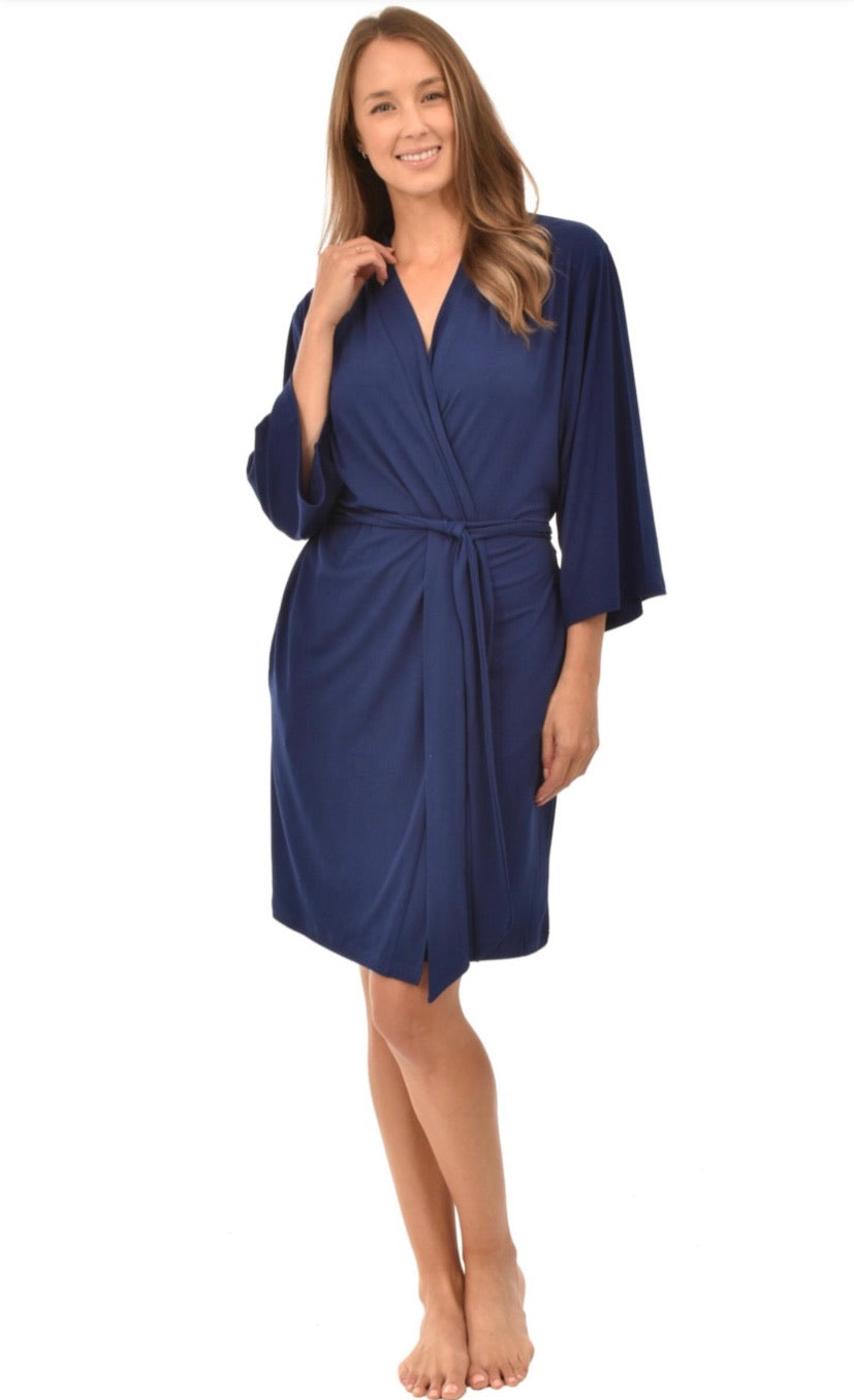 Patricia Moisture Wicking Lace and Navy + Mauve Wrap Robe