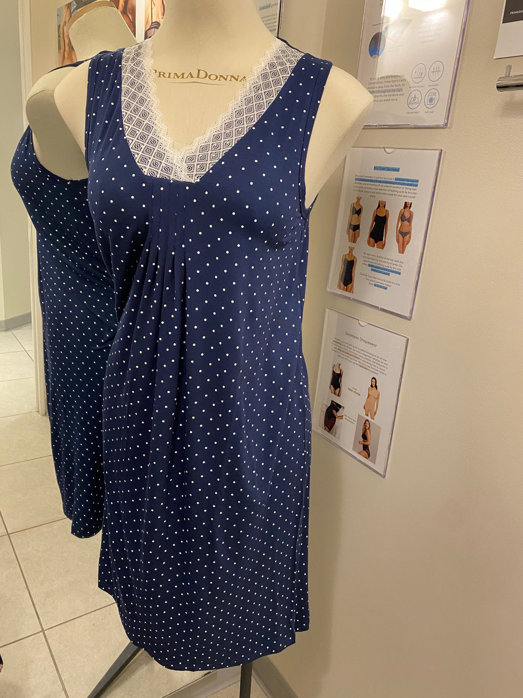 Patricia Moisture Wicking Navy + White Dots Pajama Tank Dress