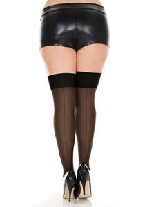 Music Legs Sheer Thigh High Backseam Plus Size Stockings
