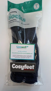 Cosyfeet - Softhold Wool Cushioned Blue Marl Socks (Small)