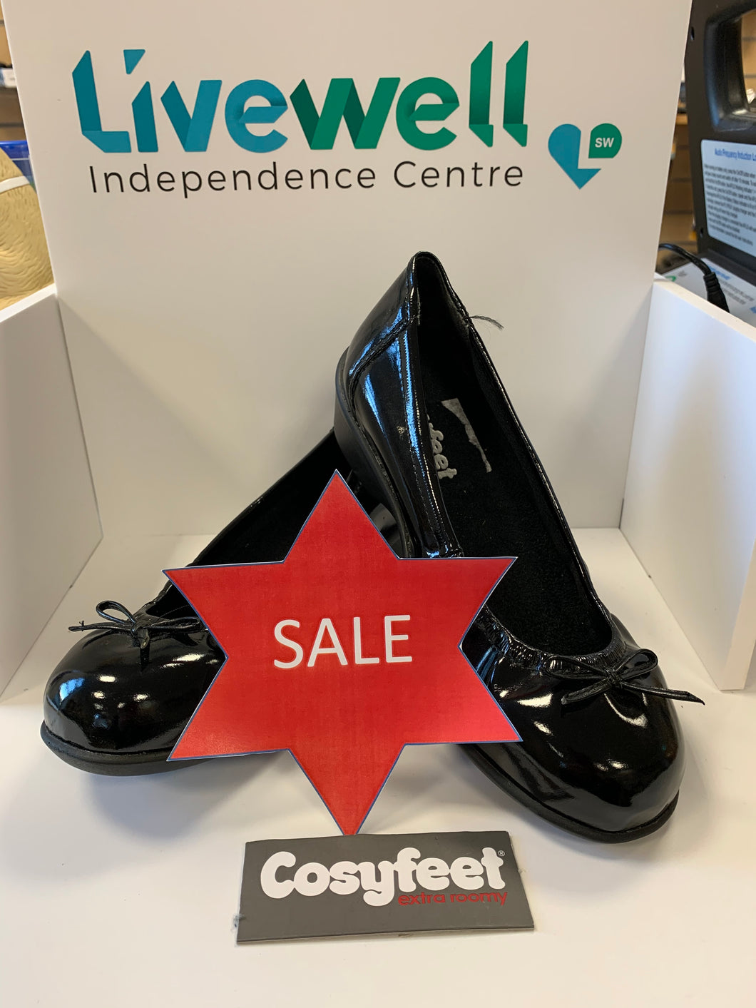 Cosyfeet - Ellie, Black Patent (Size 4)