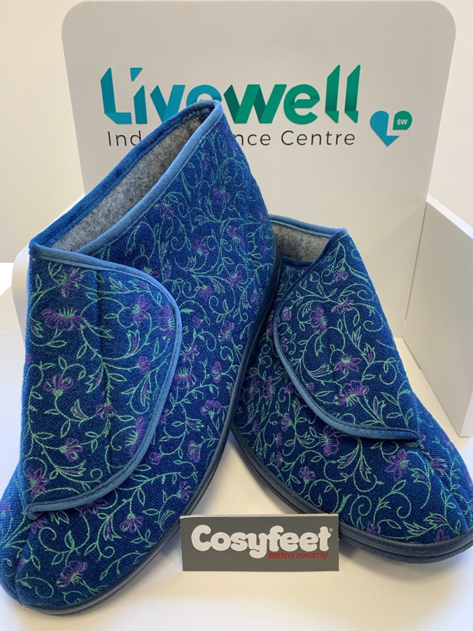 Cosyfeet - Elise Midnight, Floral (Size 9)