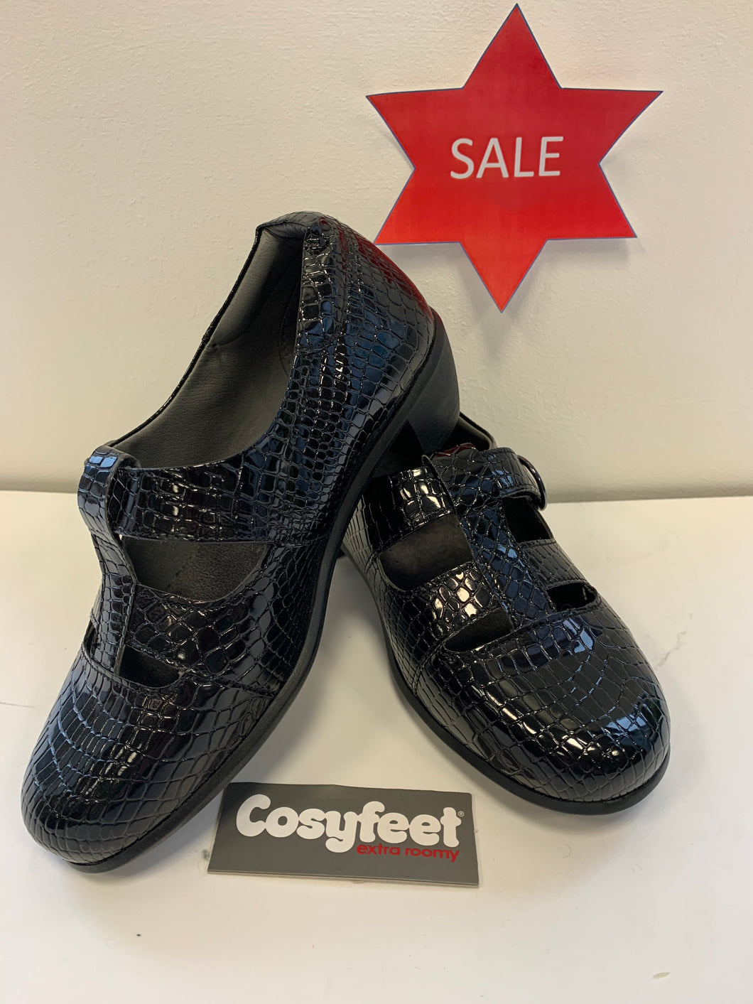 Cosyfeet - Florence, Black Patent Croc (Size 4)