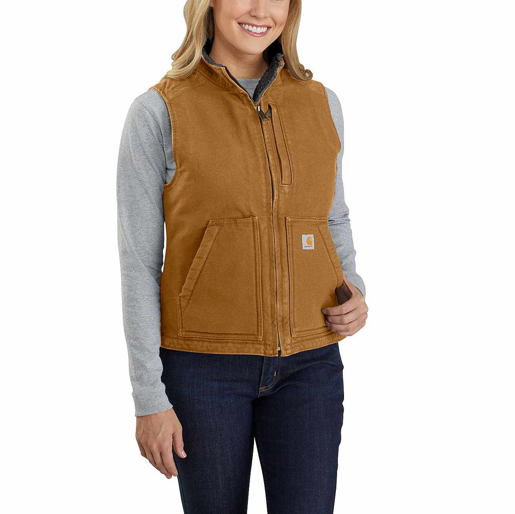 Ladies Carhartt Brown Duck Sherpa Lined Vest 104224-211