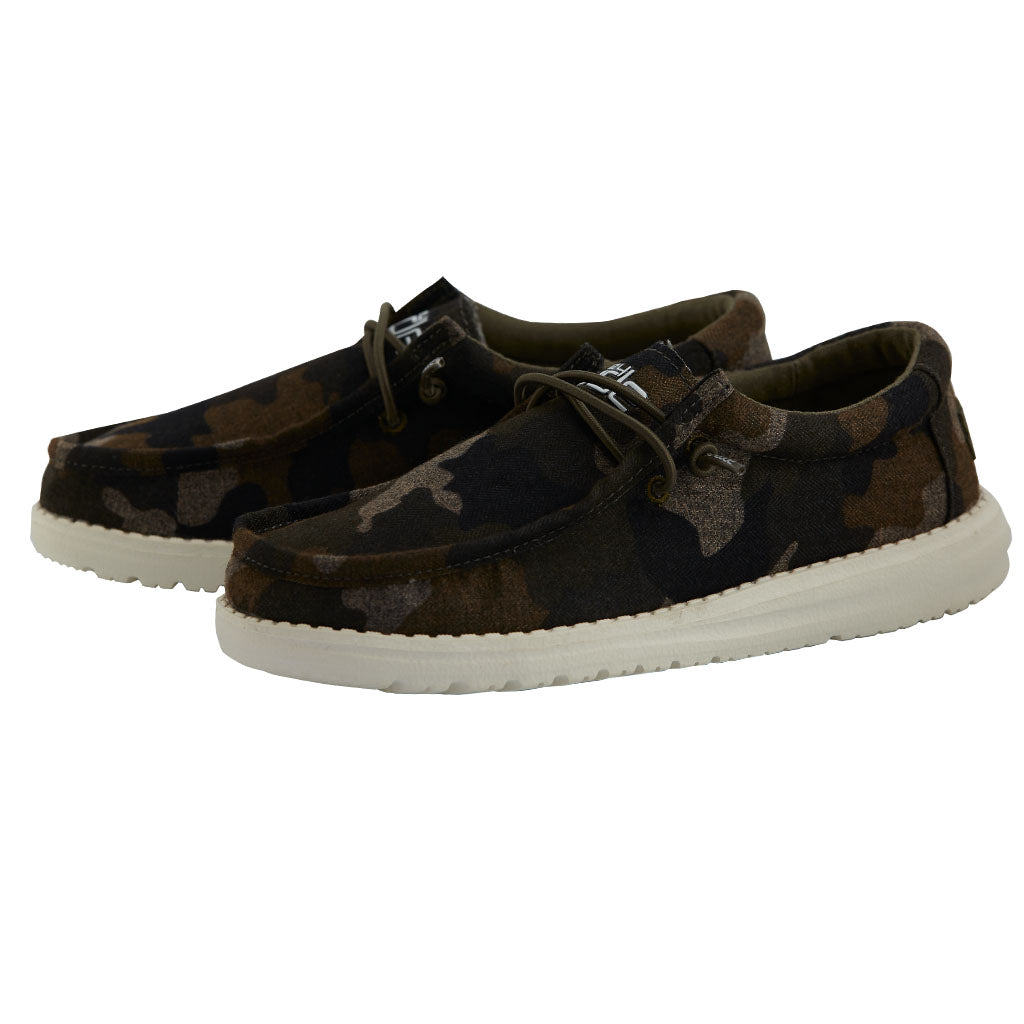 Hey Dude Boys Youth Wally Camo Linen Slip On 1301570003