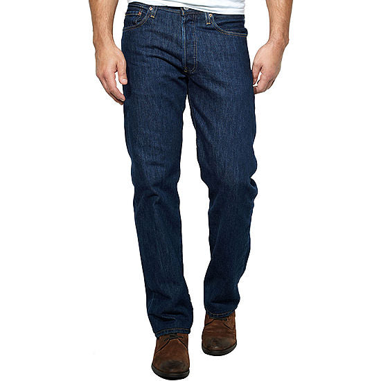 Men's Levi 501 Rinse Dark Wash Original Fit Button Fly