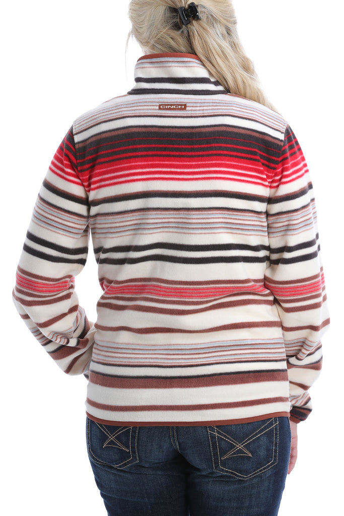 Ladies Cinch Multi Color Printed Fleece Pullover-MAK982004