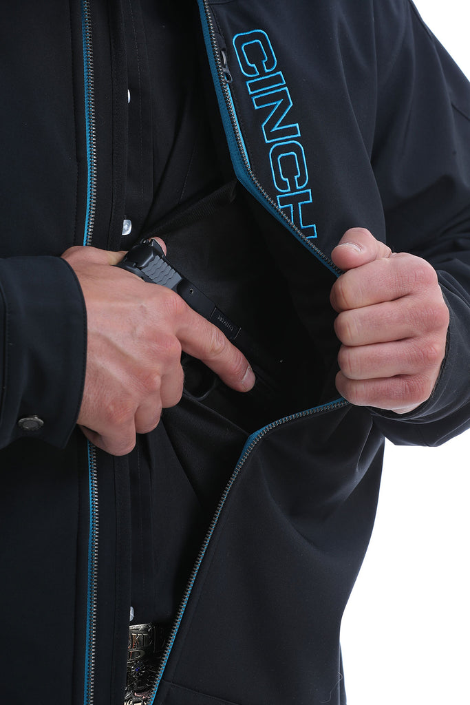 Mens Cinch Concealed Carry Bonded Jacket - Black/Light Blue