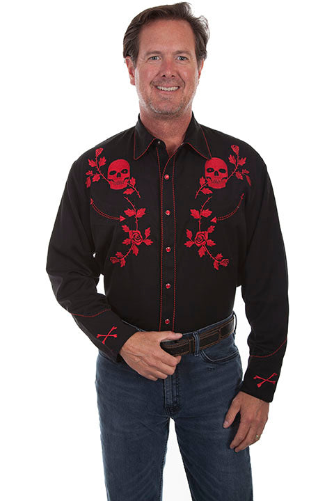 Men's Scully Crimson Skulls and Roses Western Shirt - P771