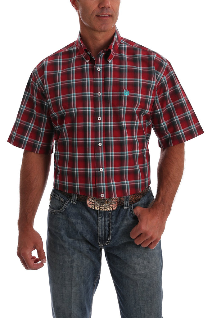 Men's Short Sleeve Red,Blue and white Plaid Button Down Western Shirt