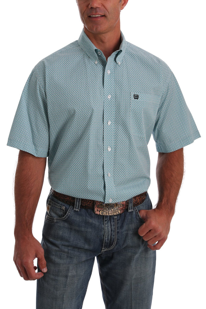 Men's Short Sleeve Turquoise and White Print Button Down Western Shirt