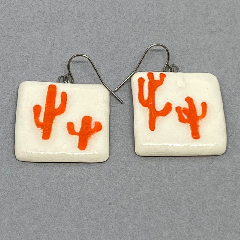 Orange Cacti White Square Earrings