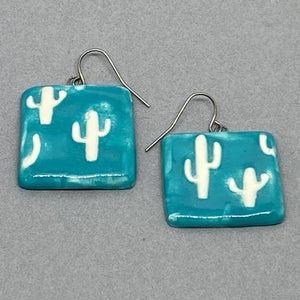 White Cacti Turquoise Square Earrings