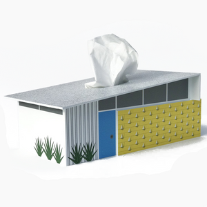 Midcentury Wedge House Tissue Box Cover