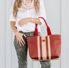 Load image into Gallery viewer, French Grain Sack Stripe Purse Antoine Burlap