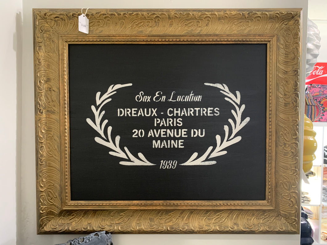 French Sign With Gold Frame
