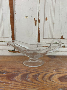Clear Glass Gravy Boat with Flowers