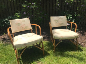 Pair of Vintage Mid Century Rattan Chairs