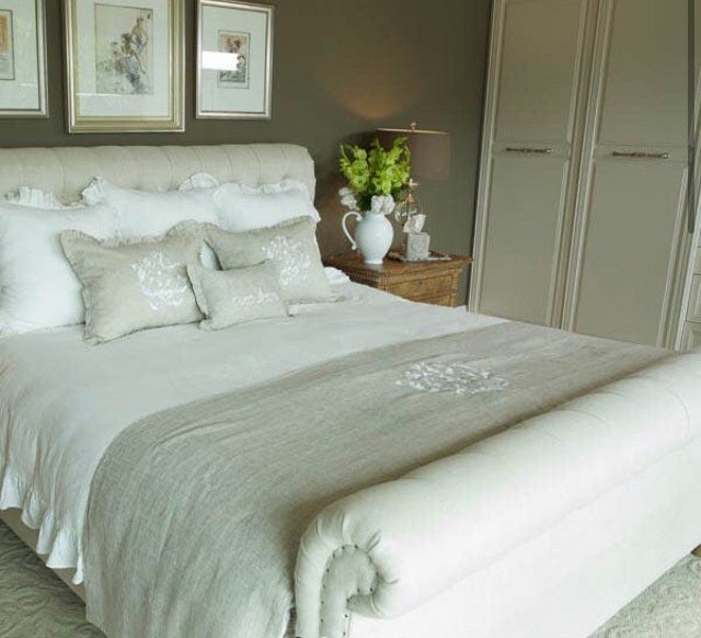 Damask Linen Bed Scarf
