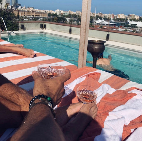 Wyse Design blog post | Handmade in Melbourne, Australia | Spotted Soho House Barcelona, mens crystal bracelet, malachite, bespoke, custom made, lava stone, Rose, Pool, Summer