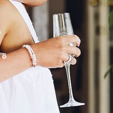 Amy Barbour wearing Wyse Design happiness crystal bracelet at wedding, butterfly red hill morning peninsula Melbourne Australia