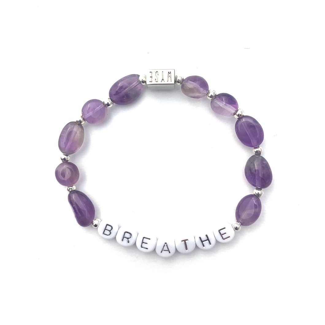 Amethyst BREATHE Crystal Intention Bracelet - Silver