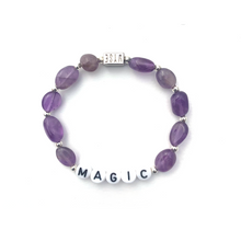 Load image into Gallery viewer, Amethyst MAGIC Crystal Intention Bracelet - Black/Silver