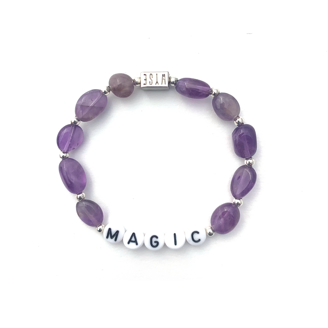 Amethyst MAGIC Crystal Intention Bracelet - Black/Silver