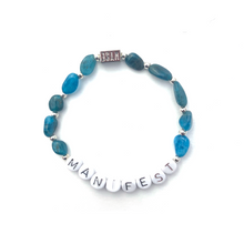 Load image into Gallery viewer, Apatite MANIFEST Crystal Intention Bracelet - Silver