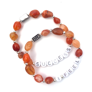 Wyse Design Carnelian crystal sacral chakra bracelet set Success I feel acrylic letters silver stainless steel jewellery
