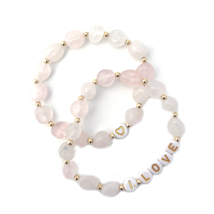 Wyse Design Rose Quartz crystal Heart chakra bracelet set Love heart symbol I love  acrylic letters 18k gold plated jewellery
