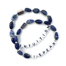 Load image into Gallery viewer, Wyse Design Sodalite crystal throat chakra bracelet set Intuition I Speak black acrylic letters silver stainless steel jewellery