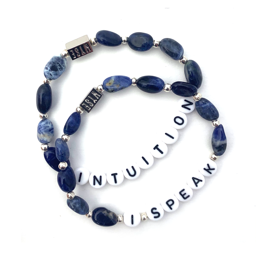 Wyse Design Sodalite crystal throat chakra bracelet set Intuition I Speak black acrylic letters silver stainless steel jewellery