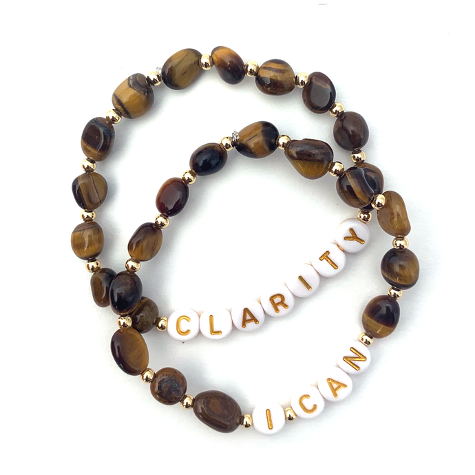 Wyse Design Tiger Eye crystal Solar Plexus chakra bracelet set Clarity I Can acrylic letters 18k gold plated jewellery