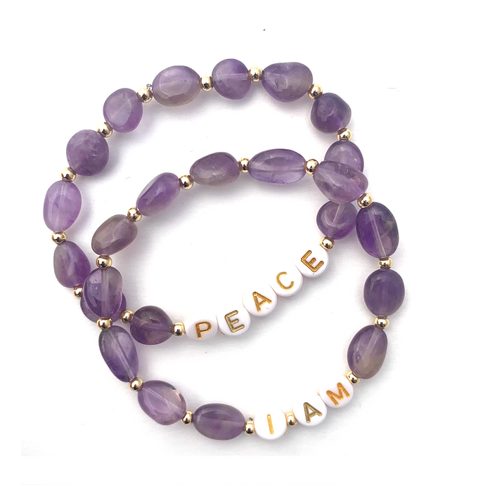 Wyse Design Amethyst crystal crown chakra bracelet set Peace I am acrylic letters 18k gold plated jewellery
