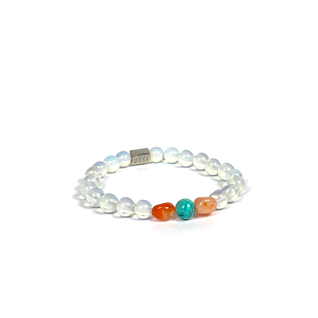 Wyse Design | Bespoke Crystal bracelet | Spring/Summer 2020 Evolve collection Transition bracelet - Turquoise, Opalite Opal, Carnelian