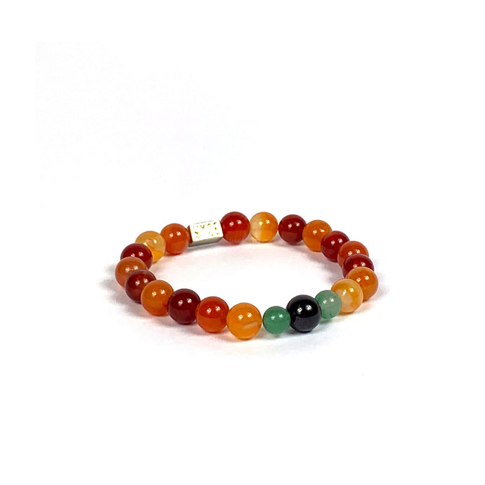 Wyse Design | Bespoke Designer Crystal bracelet | Spring/Summer 2020 Rejuvenate collection Ambition bracelet - Carnelian, Green Aventurine, Garnet