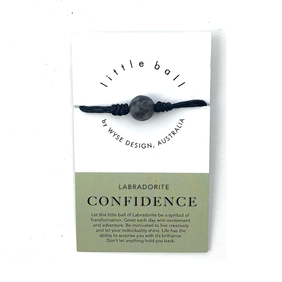 Wyse Design little ball Confidence wellness Labradorite crystal bracelet gift card Black
