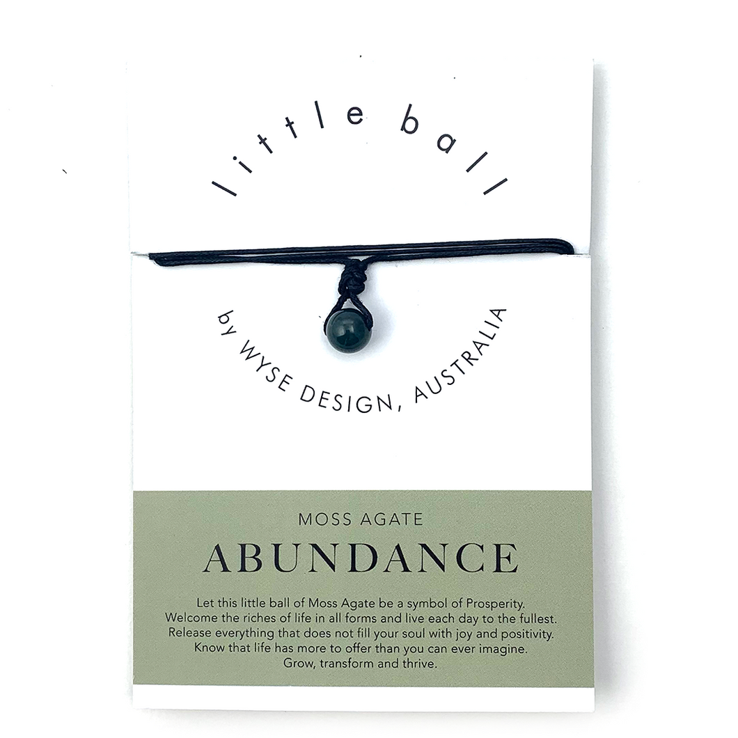 Wyse Design little ball Abundance wellness Moss Agate crystal necklace gift card Black