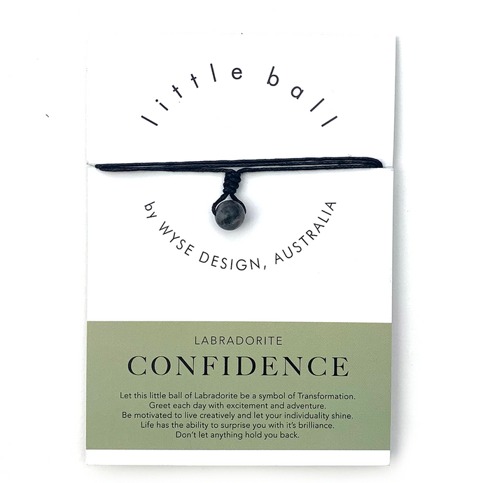Wyse Design little ball Confidence wellness Labradorite crystal necklace gift card Black