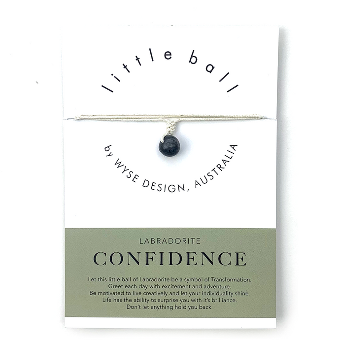 Wyse Design little ball Confidence wellness Labradorite crystal necklace gift card Cream