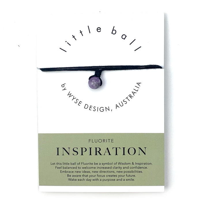 Wyse Design little ball Inspiration wellness Fluorite crystal necklace gift card black