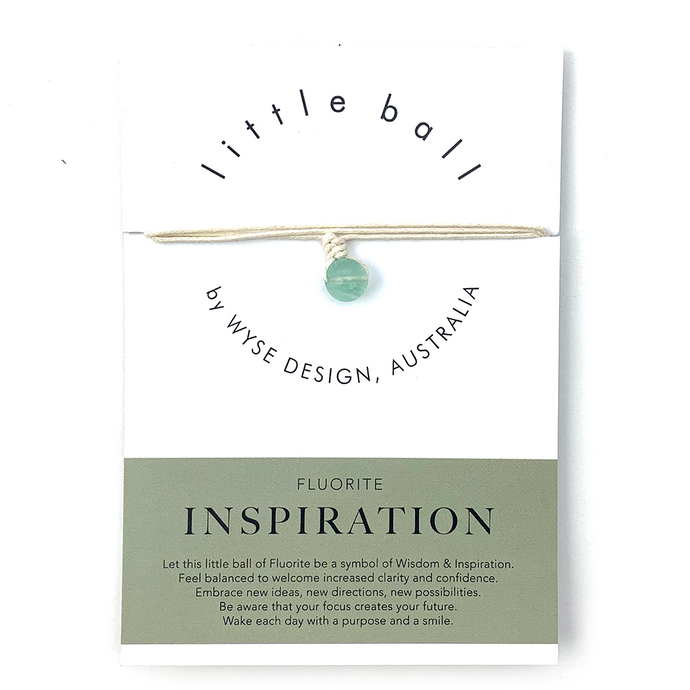 Wyse Design little ball Inspiration wellness Fluorite crystal necklace gift card cream