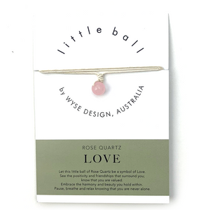 Wyse Design little ball Love wellness Rose Quartz crystal necklace gift card Cream