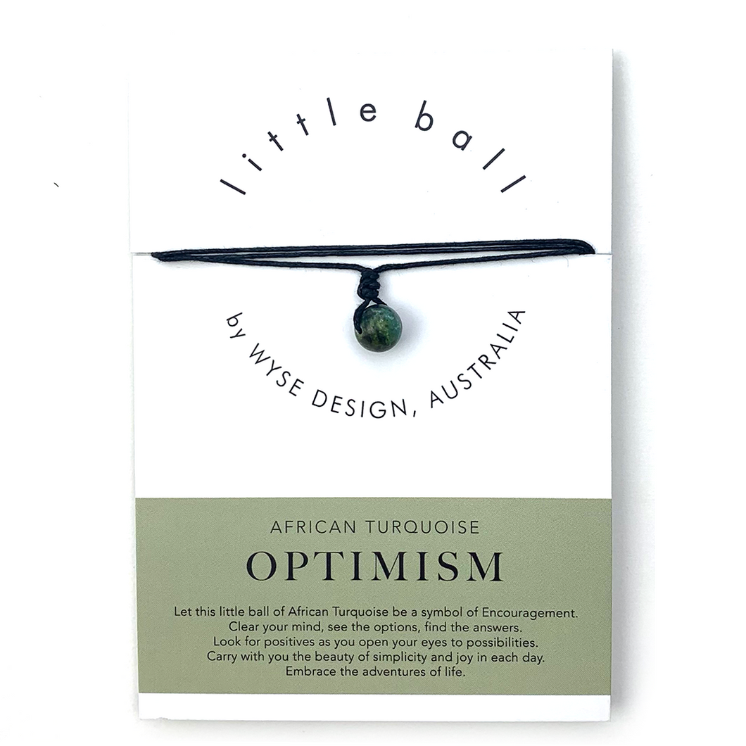 Wyse Design little ball Optimism wellness African Turquoise crystal necklace gift card Black