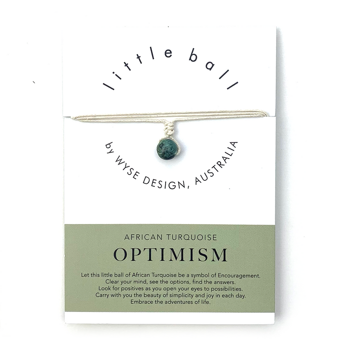 Wyse Design little ball Optimism wellness African Turquoise crystal necklace gift card Cream